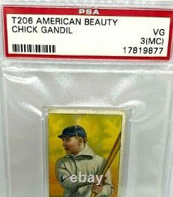 Very Rare T 206 (american Beauty) Back/ Chick Gandil, Psa Graded