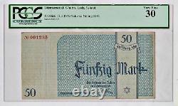 Ww2 Holocaust Litzmannstadt Lodz Ghetto 50 Mark Grade 30 Pcgs Very Rare