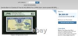 ZAMBIA £5 P3 ND (1964) PMG 35 EPQ Very rare note in this grade